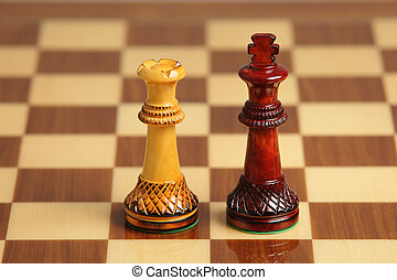 Chess couple of interracial love