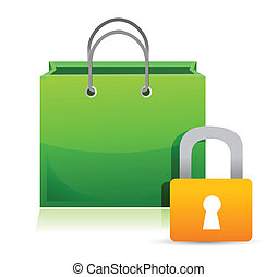 shopping card and lock illustration design over a white...