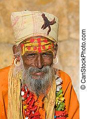 Indian sadhu (holy man). Jaisalmer, Rajasthan, India.