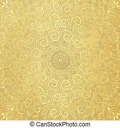 Old paper with gold pattern - Old yellow paper with round...