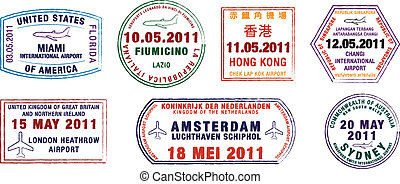 Passport Stamps - A collection of world airport stamps in...