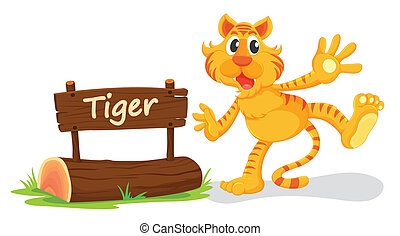 tiger and name plate - illustration of tiger and name plate...