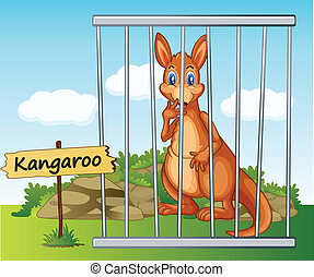 kangaroo in cage - illustration of a kangaroo in cage and...