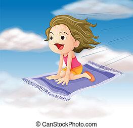 girl flying on mat - illustration of a girl flying on mat in...