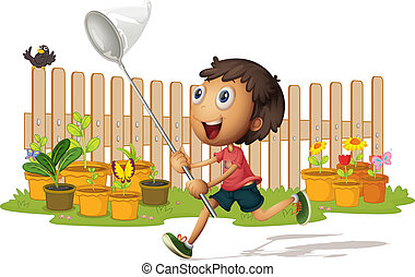 boy catching butterflies - illustrtion of a boy catching...