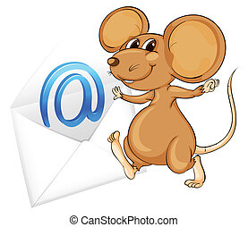 mouse with mail envelop - illustration of a mouse with mail...