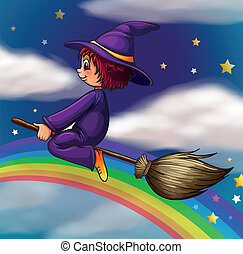 witch - illustration of a witch flying on broom in dark...