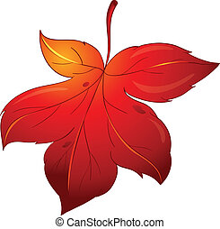 colorful leaf - illustration of colorful leaf on a white...