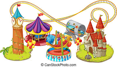funfair games - illustration of funfair games on a white...