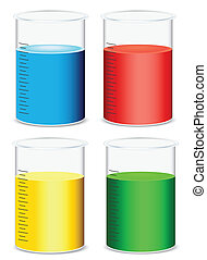 glass beakers - illustration of glass beakers on a white...