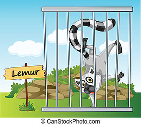 lemur in cage - illustration of a lemur in cage and wooden...