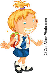 a girl going to school - illustration of a girl going to...