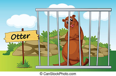 otter in cage - illustration of a otter in cage and wooden...