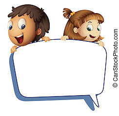 girl and boy holding callout picture - illustration of girl...
