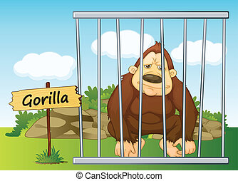 gorilla in cage - illustration of a gorilla in cage and...