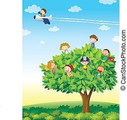 kids playing on tree