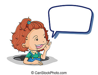 girl with callout - illustration of girl with callout on a...