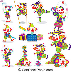 jokers various activities - illustration of various...