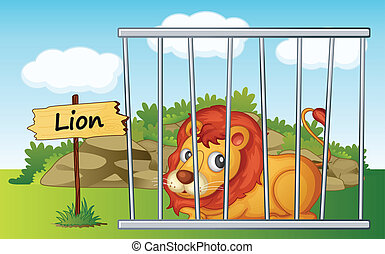 lion in cage - illustration of a lion in cage and wooden...