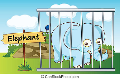 elephant in cage - illustration of a elephant in cage and...