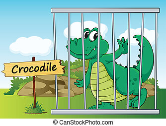 crocodile in cage - illustration of a crocodile in cage and...