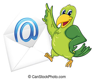 bird with mail envelop - illustration of a bird with mail...