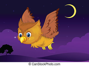 owl - illustration of flying owl in a dark night