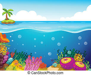 palm tree and coral - illustration of palm tree and coral in...