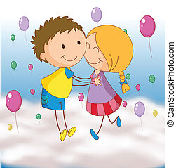 kids - illustration of a kids playing with balloons