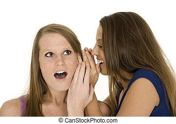 Friends - Two beautiful caucasian women telling secret on a...