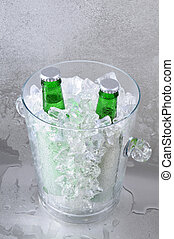 Two Green Beers in Crystal Ice Bucket