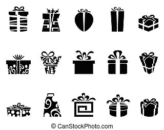 gift box icons - the collection of black gift box icons on...