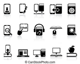 digital books and e-books icons - isolated digital books and...