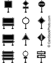 simple traffic sign and road sign icons - isolated simple...