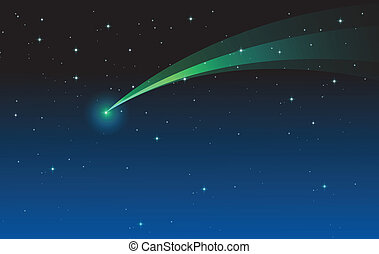 comet - illustration of comet in the night sky