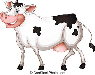 Cow - illustration of a cow in a white background