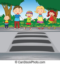 family crossing road - illustration of family waiting for...