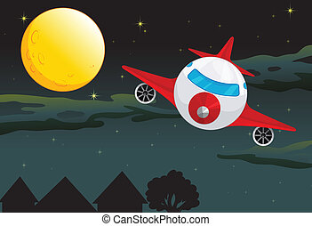 a moon and airplane - illustration of a moon and aeroplane...