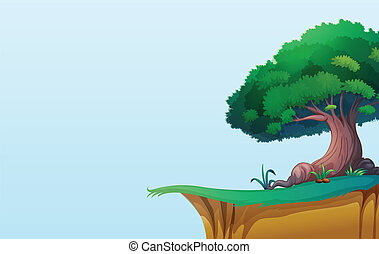 landscape - illustration of a green landscape on blue...