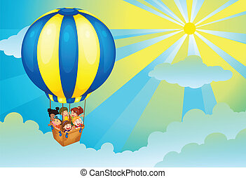 kids in hot air balloon - illustration of kids in a hot air...