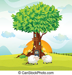 sheeps under tree house - illustration of sheeps under a...