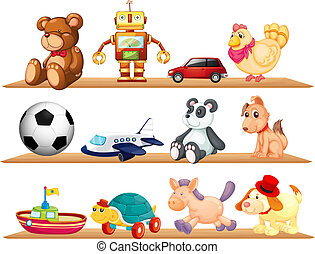 various toys - illustration of various toys on a white...