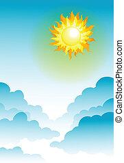 sun and blue sky - illustration of sun in the blue sky