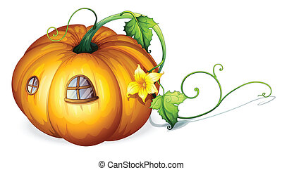 pumpkin house - illustration of yellow pumpkin house on a...