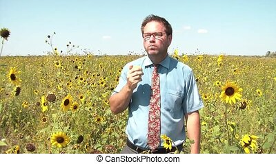 Businessman Eating Food in Sunflower Field - Businessman in...