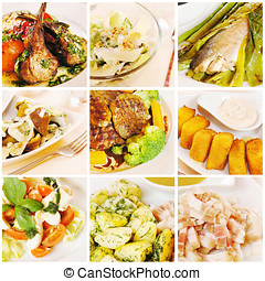 Collage gourmet food