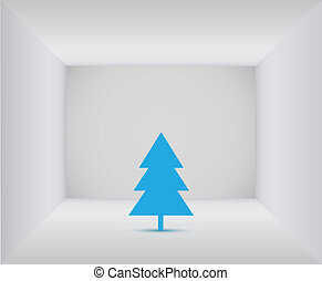 Blue christmas tree in the white room