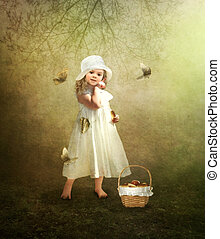 A little girl in a white hat - The little girl in the white...