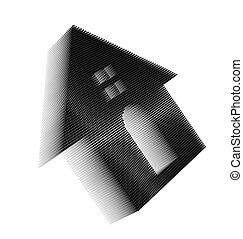 Black pixel icon-like three-dimensional image of house with...