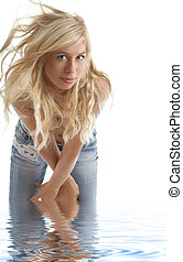 blonde in blue jeans